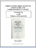 Growing Up To The Fullness Of Eternal Life (Workbook)